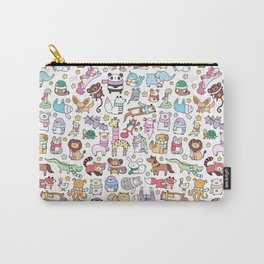 Winter Animals with Scarves Doodle Carry-All Pouch