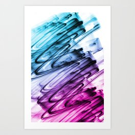 Cyan and Cerise Abstract Wavy Lines Art Print