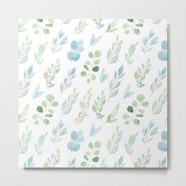 Pastel green teal hand painted watercolor leaves floral Metal Print