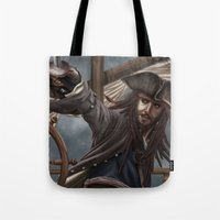 jack sparrow Tote Bags featuring Captain Jack Sparrow by Art of Nym