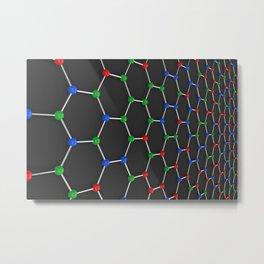 Graphene atomic structure on black Metal Print