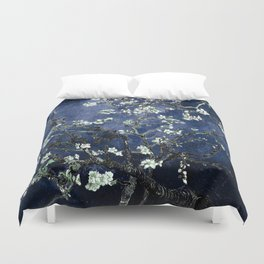 Vincent Van Gogh Almond Blossoms Dark Blue Duvet Cover