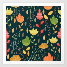 Summer flowers pattern Art Print