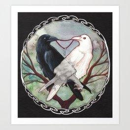 Huginn and Muninn Art Print