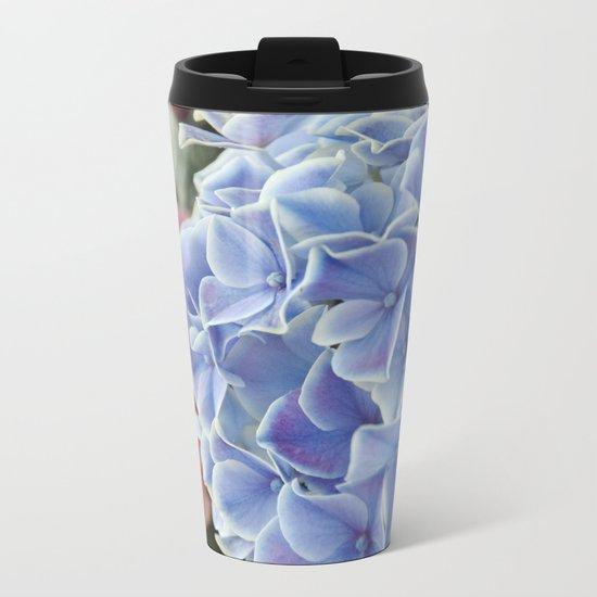 Purple Hydrangea Metal Travel Mug