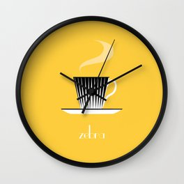 Zebra. Yellow Wall Clock