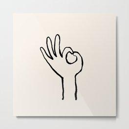 OK hand Metal Print