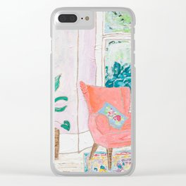 A Room with a View - Pink Armchair by the Window Clear iPhone Case