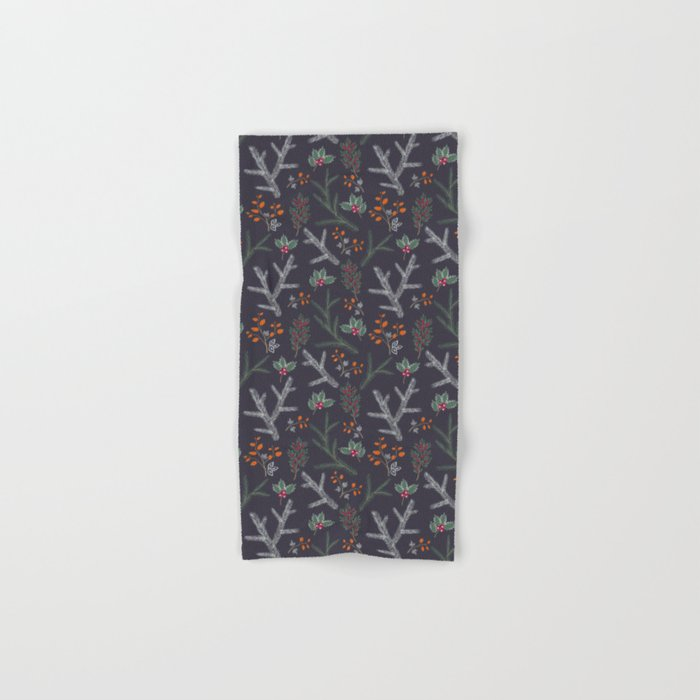 Seamless pattern with floral branches winter christmas hand drawn texture background Hand & Bath Towel
