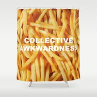 fries Shower Curtains featuring FRIES, ANYONE?  by Collective Awkwardness
