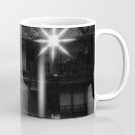 Girl in the Streetlights of Gion, Kyoto - Black and White Double Exposure Film Photograph Coffee Mug