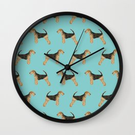 Airedale Terrier pattern dog breed cute custom dog pattern gifts for dog lovers Wall Clock