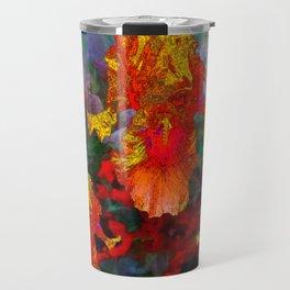 Golden Floral Iris Fantasy Garden Puce Color Design. Travel Mug