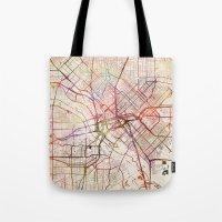 dallas Tote Bags featuring Dallas by MapMapMaps.Watercolors