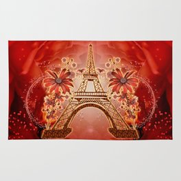 The eiffel tower with flowers Rug