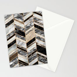 Abstract Chevron Pattern - Black and White Marble Stationery Cards