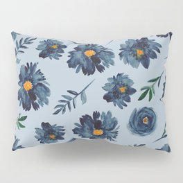 Watercolor Flower Pattern - Classic Blue - Indigo Pillow Sham