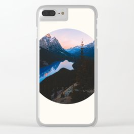 Mid Century Modern Round Circle Photo Mountain Valley Landscape With Blue Lake Clear iPhone Case