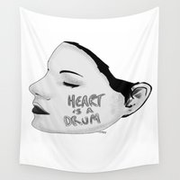 drum Wall Tapestries featuring heart is a drum by Will Johnstone