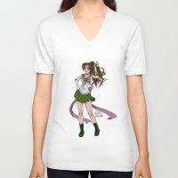sailor jupiter V-neck T-shirts featuring Sailor Jupiter by Teo Hoble