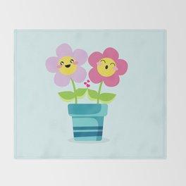 Kawaii Spring lovers Throw Blanket