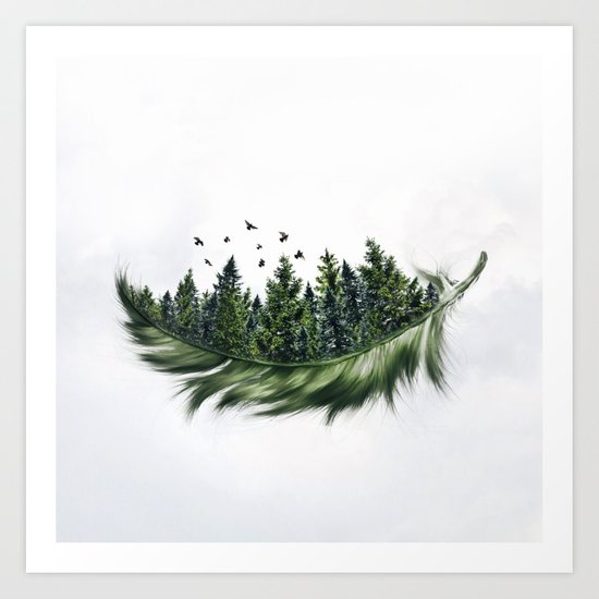 Earth Feather • Green Feather (horizontal) by heyluisa