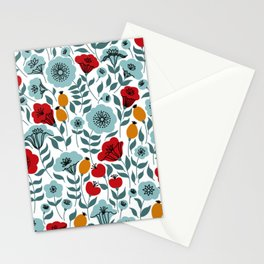 Red & Light Blue Flowers Stationery Cards