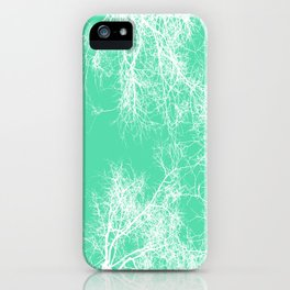 White silhouetted trees on green iPhone Case
