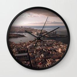 Valletta City Malta Aerial  Wall Clock