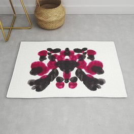 Burgundy Red Purple Ink Blot Pattern Rug