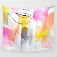 lips Wall Tapestries featuring Lips by Alexandra Str