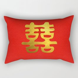 Double Happiness Feng Shui Symbol Rectangular Pillow