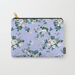 Vintage lavender white emerald green floral Carry-All Pouch