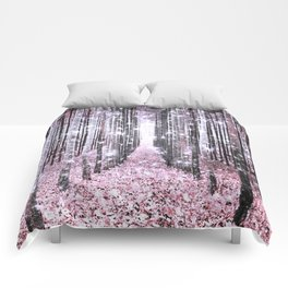 Magical Forest Pink Gray Elegance Comforters