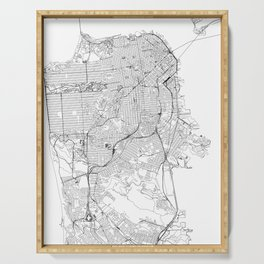 San Francisco White Map Serving Tray