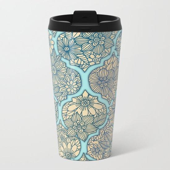 Moroccan Floral Lattice Arrangement - aqua / teal Metal Travel Mug