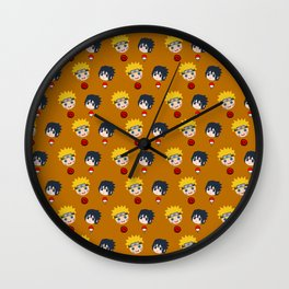 Funny Naruto and Sasuke Face Wall Clock