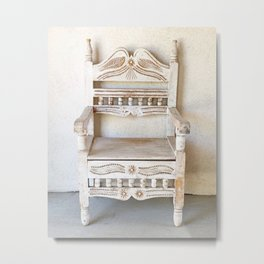 Carved White Chair :: New Mexico Metal Print