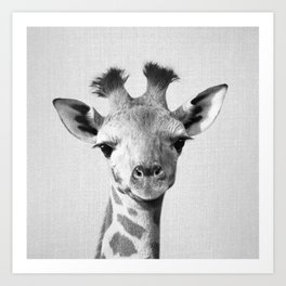 Baby Giraffe - Black & White Art Print