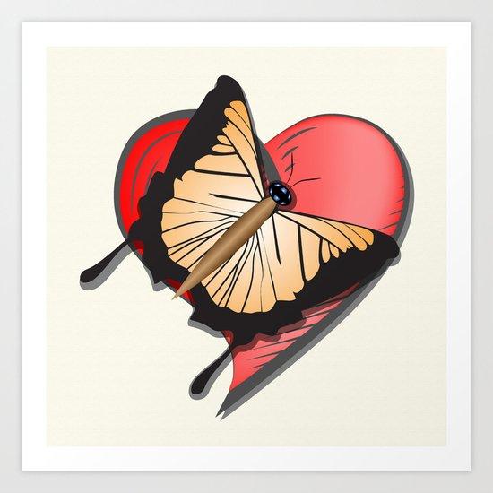 Butterfly over a heart, a symbol of romance. Art Print
