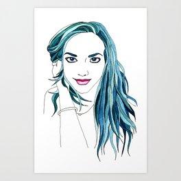 Rainbow Haired Girl: Teal Art Print