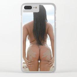 9527-SS Naked Woman Nude Beach Ocean Surf Sandy Handprints on Bare Ass Clear iPhone Case