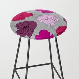 Purple Jewel Tone Hand Drawn Poppies Bar Stool