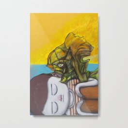 Girl and fish Metal Print