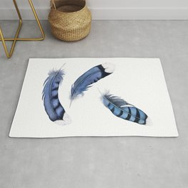 Falling Feather, Blue Jay Feather, Blue Feather watercolor painting by Suisai Genki Rug