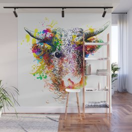 Hand drawn bull, cow, bison, buffalo head face portrait with horns. Colorful cattle painting sketch Wall Mural