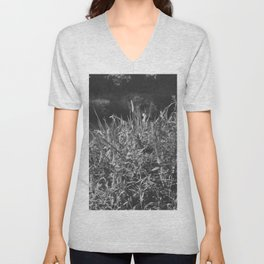 photograph of river landscape and plants in the field in soft green color for clothes, furniture, gi Unisex V-Neck