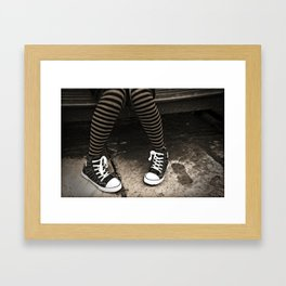Striped Socks & Sneakers Framed Art Print