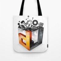 dj Tote Bags featuring DJ by DeanDesign