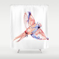 swallow Shower Curtains featuring SWALLOW  by Frankie Dean